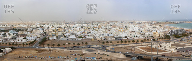 March 2, 2019: Panoramic view of the city Sur- Oman