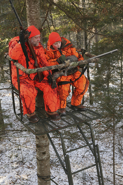 Father And Son In Tree Stand