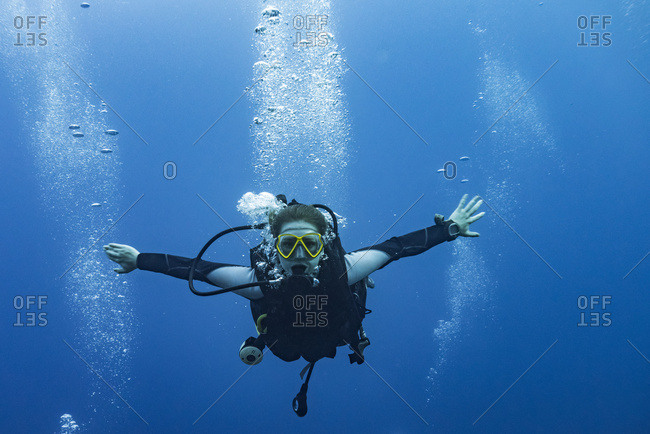 Scuba diver at the Three Amigos Dive Site, Belize Barrier Reef