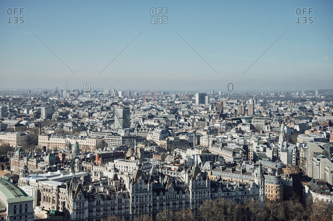 Streets of large city on cloudless day