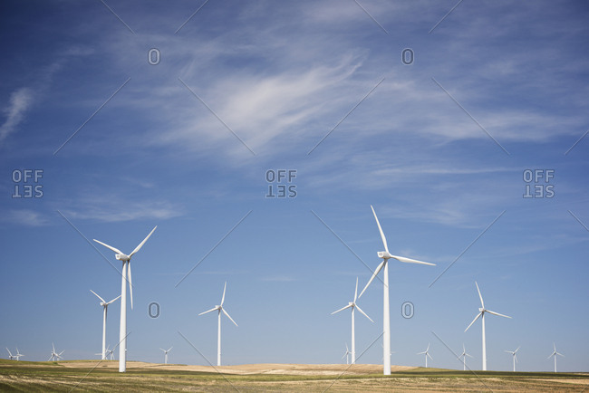 Windmills for renewable electric production in Zaragoza Province, Spain.
