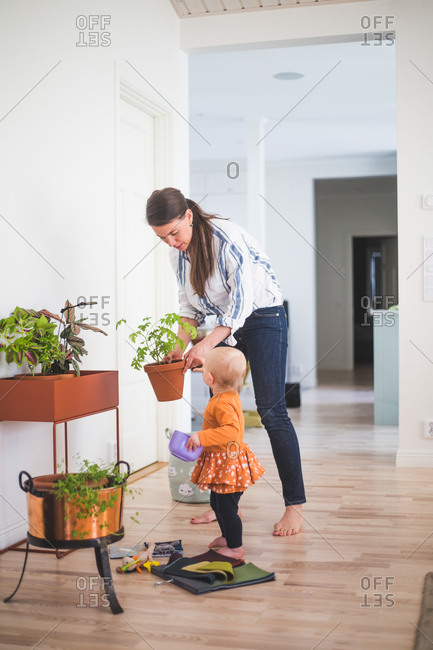 Fashion designer and daughter gardening while standing on hardwood floor at home