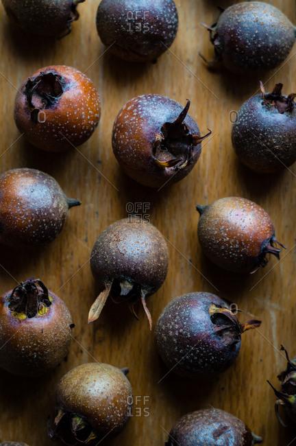 Overhead view of common medlar fruit