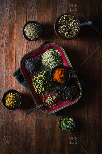 Arrangement of dried spices for making curry powder