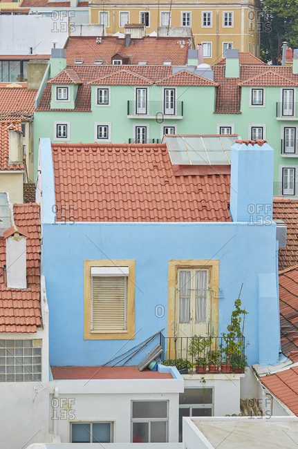 Bright colored buildings in Lisbon, Portugal