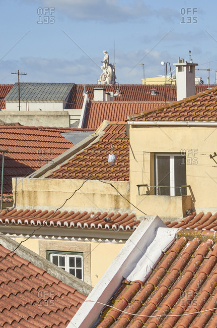 Facades of buildings and rooftops in Lisbon, Portugal