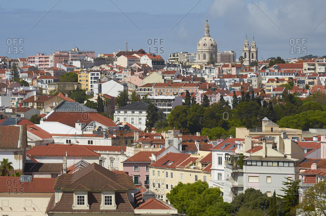Bird's eye view of the Lapa Neighborhood viewed from Principe Real, Lisbon, Portugal
