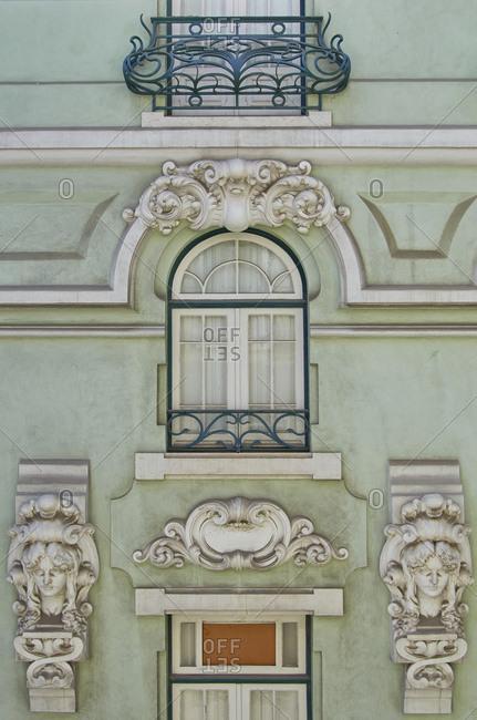 Decorated window detail, Lisbon, Portugal