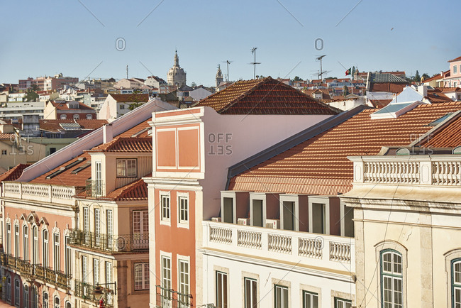 Lisbon, Portugal - December 28, 2018: Bird's eye view of facades of buildings at sunset