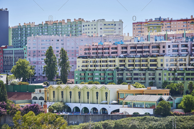 Lisbon, Portugal - August 3, 2019: Encosta das Olaias Buildings