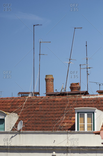 Cluster of antennas on Lisbon rooftops, Portugal