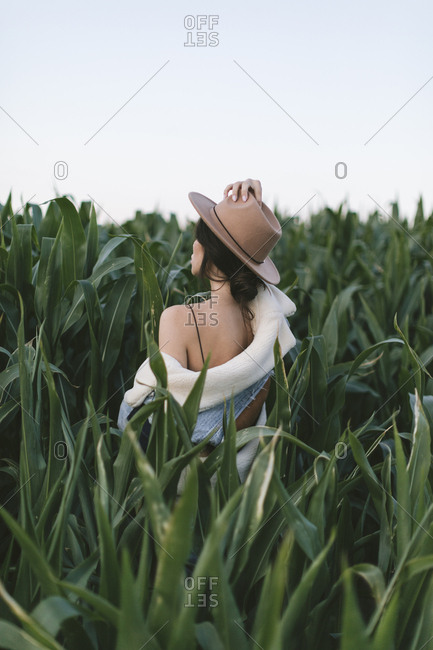 Rear view of a beautiful young woman in stylish hat and jean jacket in a corn field