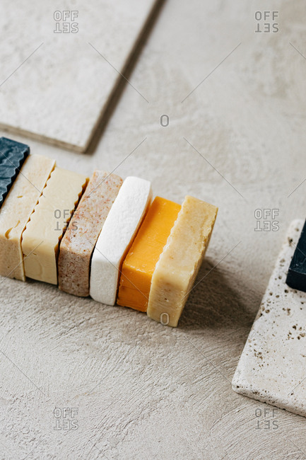 Skincare soaps in different colours.