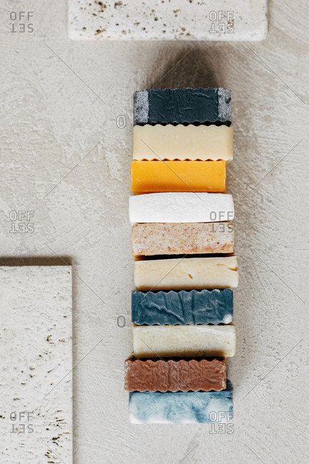 From above photo of composition with skincare soaps.