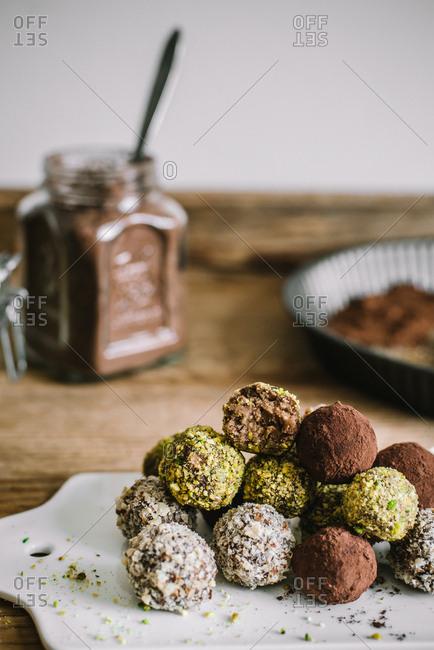 Variety of fresh baked truffles