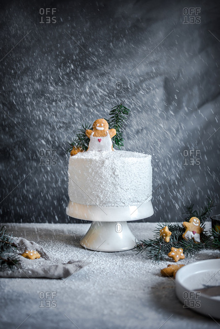 Wintery scene with white cake and gingerbread cookies