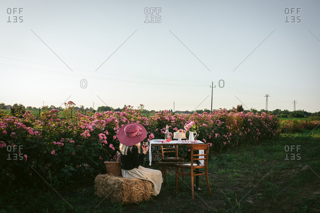 Woman sitting on hay bale drinking wine by table in the countryside