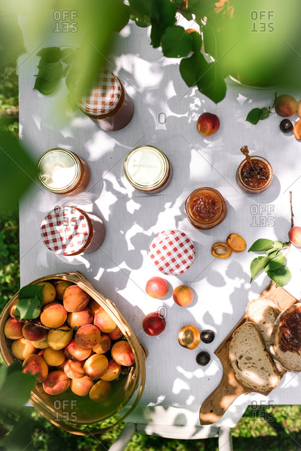 Overhead view of homemade nectarine jam with toast on a picnic table