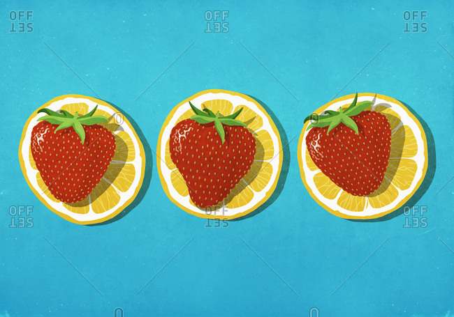 Strawberries on lemon slices