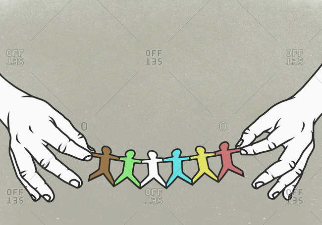 Hands holding multi colored paper chain