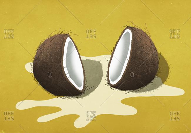 Spilled coconut milk