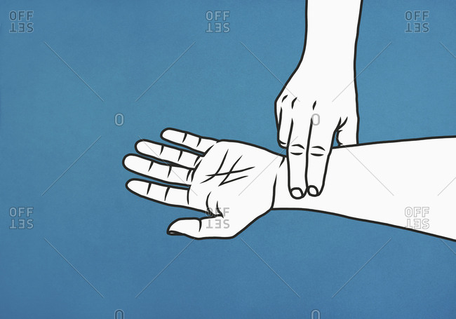 Fingers checking pulse on wrist