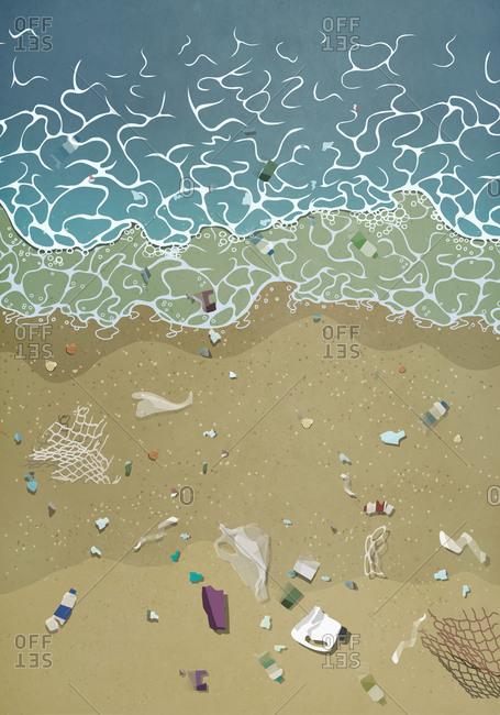 Litter washing up on ocean beach