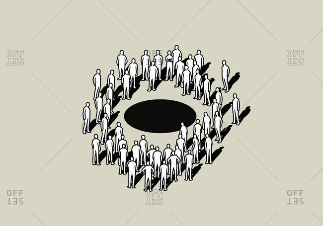 Crowd standing around black hole