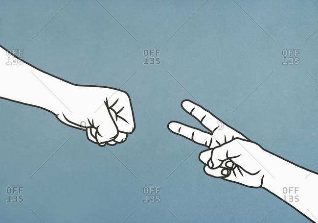Hands playing rock, paper, scissors