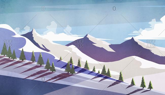 Scenic view sunny, snowy mountain landscape
