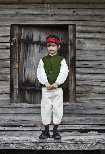 Boy wearing costume