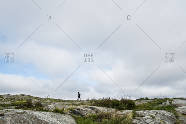 Mature woman hiking in Tjorn,  Sweden