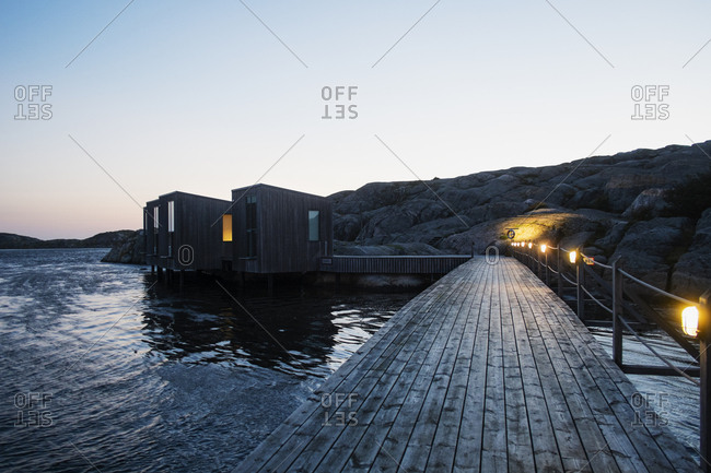 August 31, 2016: Contemporary house on pier in Bohuslan, Sweden
