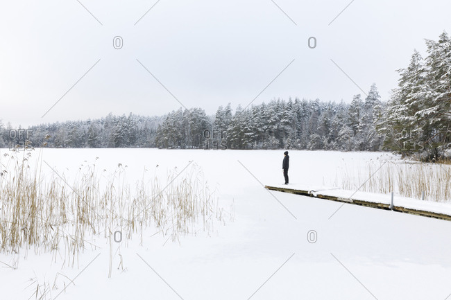 Mature woman standing over frozen lake in Ostergotland,  Sweden