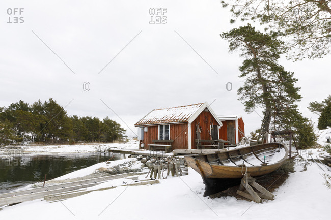 Boat sheds in snow