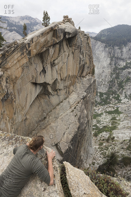 Man on cliff in Sequoia National Park in California