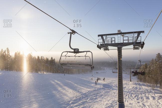 Idre, Sweden - December 30, 2017: Ski lift above snow