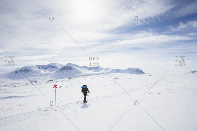Woman skiing by markers on Kungsleden trail in Lapland,  Sweden