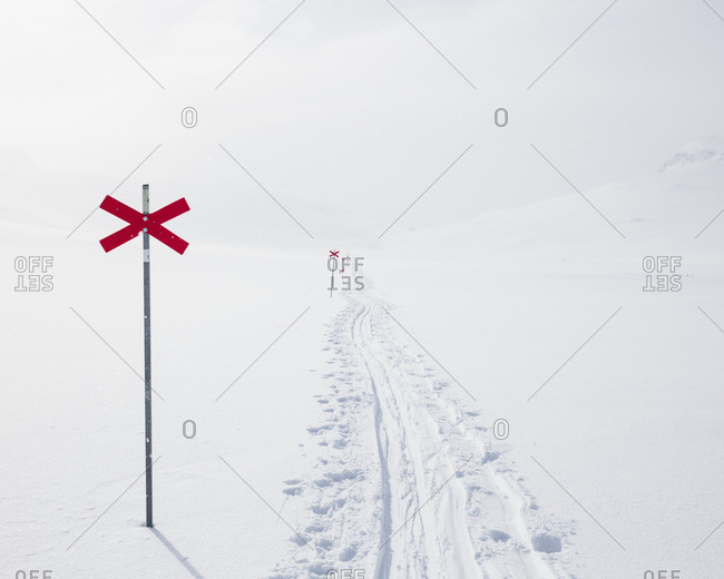 Markers in snow of Kungsleden trail in Lapland,  Sweden