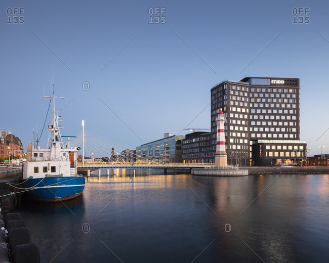 May 13, 2018: River at sunset in Malmo, Sweden