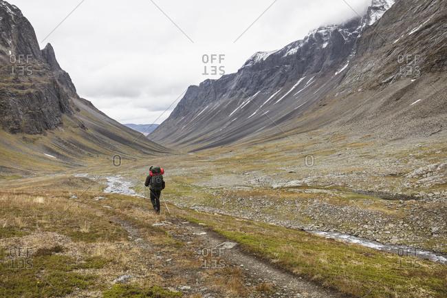 Mature man hiking on Norrbotten,  Sweden
