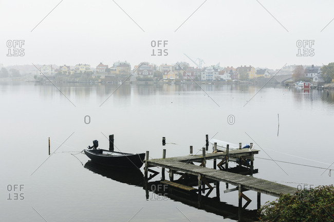 October 10, 2018: Motorboats moored by jetty in Karlskrona, Sweden