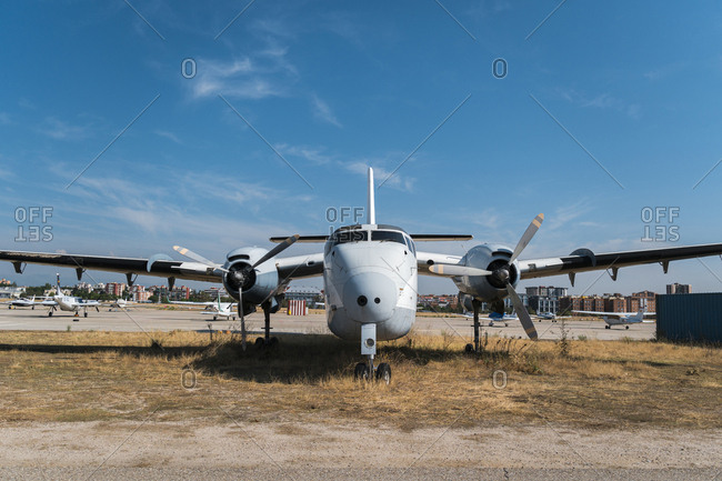 Madrid, Spain - September 1, 2019: Front view of old abandoned propeller plane