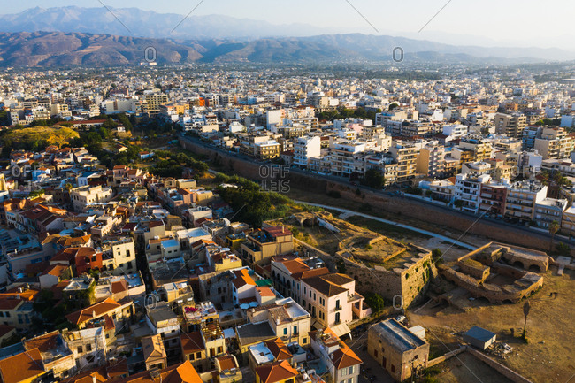 Chania, Crete, Greece - August 23, 2019: Bird's eye view over the city of Chania