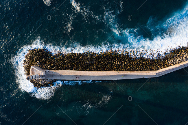 Aerial view of Lighthouse at the Old Venetian Harbour, Chania, Crete, Greece