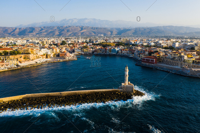 Chania, Crete, Greece - August 23, 2019: Bird's eye view of the Old Venetian Harbour