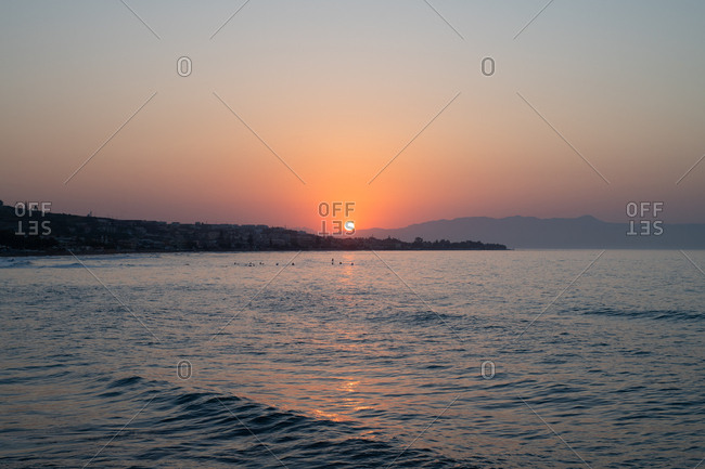 Beautiful sunset over the coast of Chania, Crete, Greece