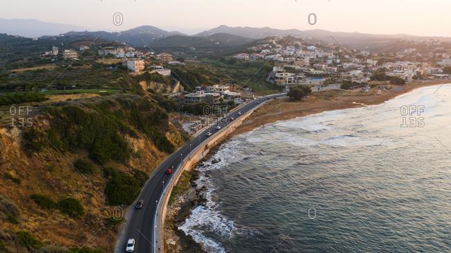 Chania, Crete, Greece - August 25, 2019: Bird's eye view of a coastal Greek city