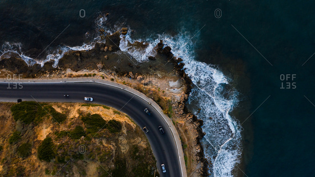 Overhead view of parking lot on the coast of Chania, Crete, Greece