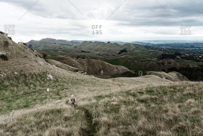 Children hiking at Te Mata Peak in New Zealand